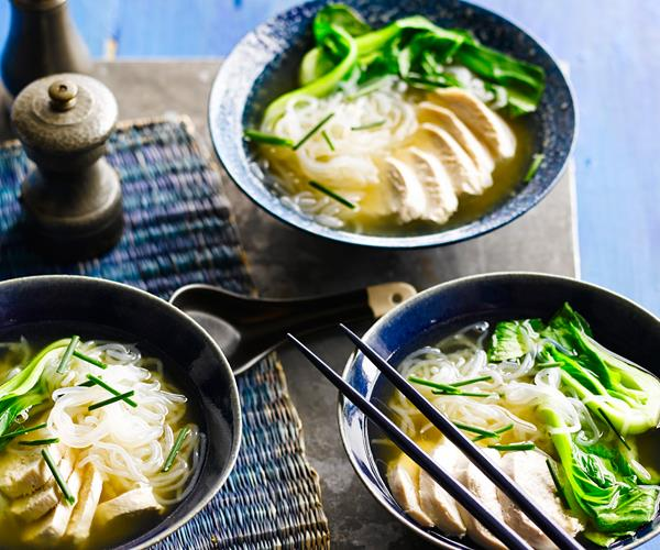 Flavourful shirataki noodles with ginger chicken broth recipe | Food ...